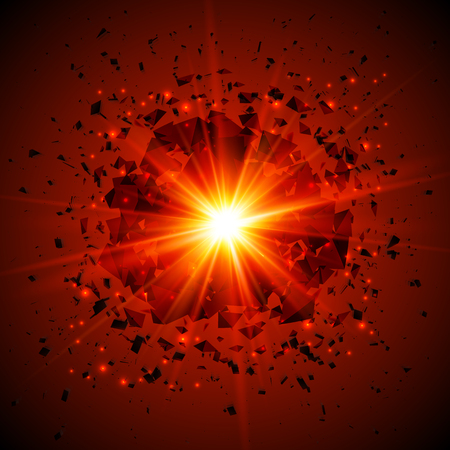flash light: Red flaming vector meteor cosmic explosion at dark background