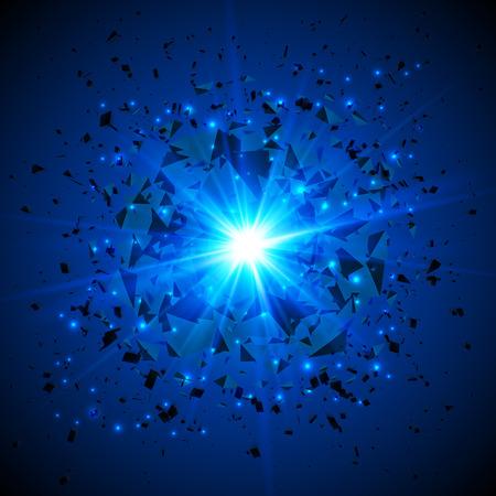 Azul llameante del vector de meteoritos explosión cósmica en el fondo oscuro