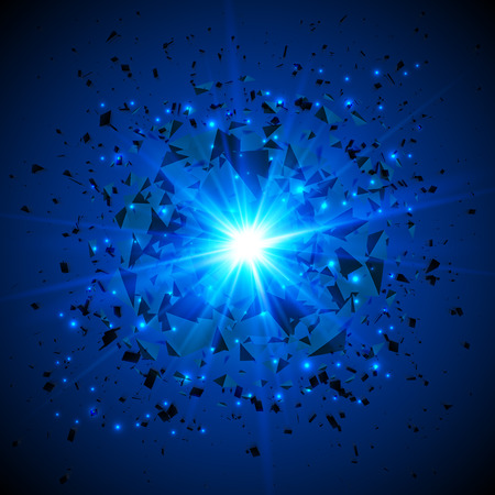 planeten: Blau flammenden Vektor Meteor kosmische Explosion am dunklen Hintergrund Illustration