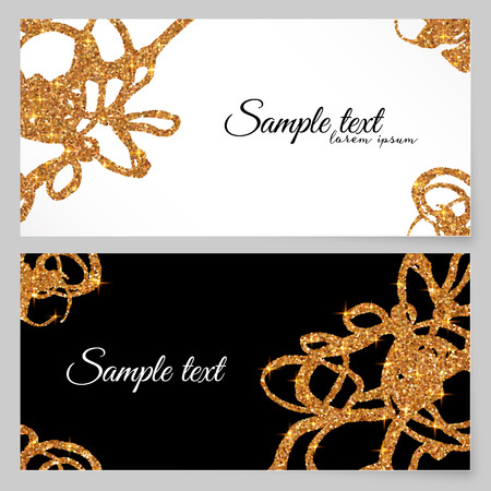 invited: Golden glitter paint doodles vector greeting card template