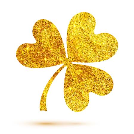 glitter gloss: Golden shining glitter glamour vector clover leaf on white background