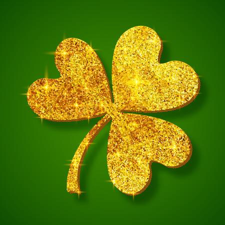 Golden shining glitter glamour vector clover leaf on dark green background