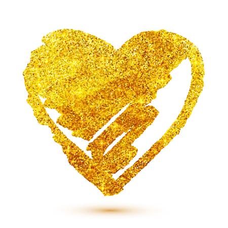 schlauch herz: Vector goldenen Glitter Grunge Herz isoliert auf weißem Hintergrund