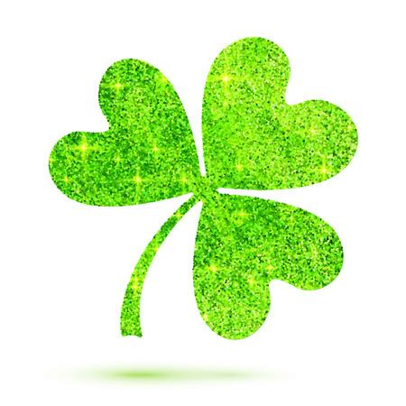 fourleaf: Green shining glitter glamour vector clover leaf on white background
