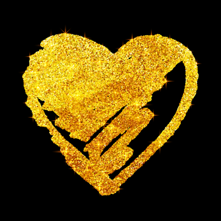 gloss: Vector golden glitter grunge heart isolated on black background Illustration