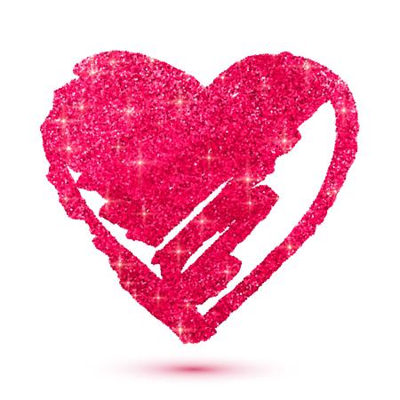 glitter hearts: Pink shining glitter vector heart isolated on white