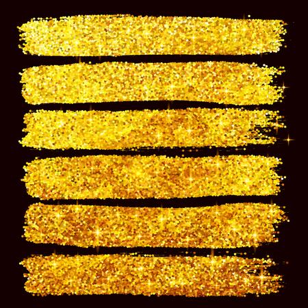 Vector golden glitter brushstrokes set isolated at black background