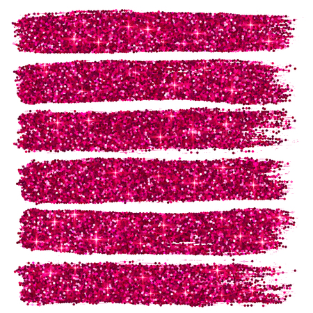Vector pink glitter brushstrokes set isolated at white background Vectores