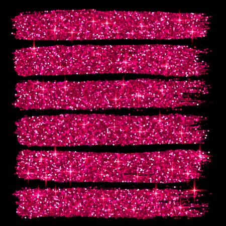 pink and black: Vector pink glitter brush strokes set isolated at black background Illustration