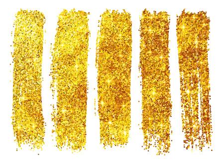 Golden vector shining glitter polish samples isolated on white background