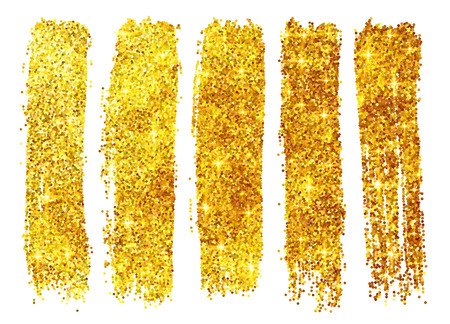 Golden vector shining glitter polish samples isolated on white background