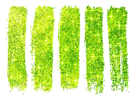 cosmetic lacquer: Green vector shining glitter polish samples isolated on white background Illustration