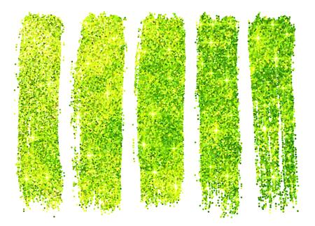 emulsion: Green vector shining glitter polish samples isolated on white background Illustration