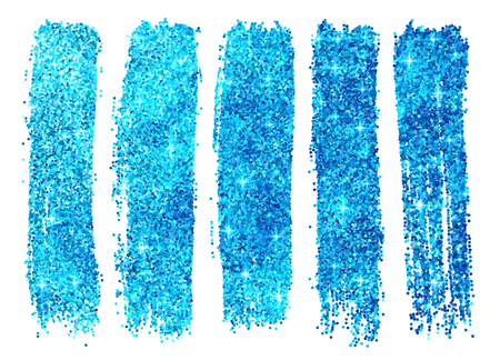 nail varnish: Blue vector shining glitter polish samples isolated on white background