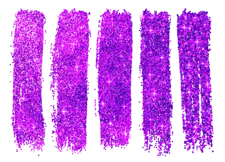 samples: Purple vector shining glitter polish samples isolated on white background