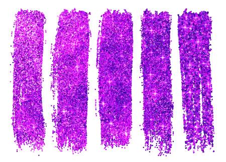 Purple vector shining glitter polish samples isolated on white background