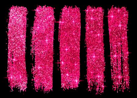 Roze glitter vector penseelstreken set geïsoleerd op een zwarte achtergrond