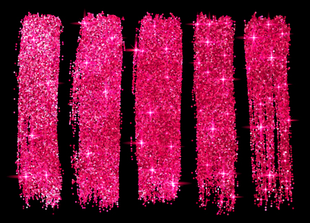 Pink glitter vector brush strokes set isolated at black background