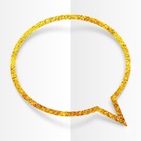 speech: Golden glitter vector speech bubble frame isolated on white background