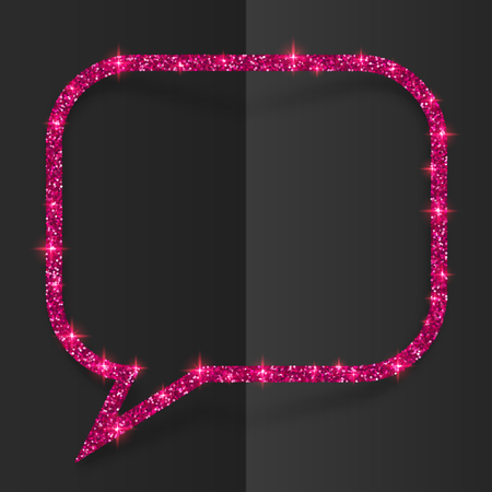 Pink glitter vector speech bubble frame isolated on black background Vectores