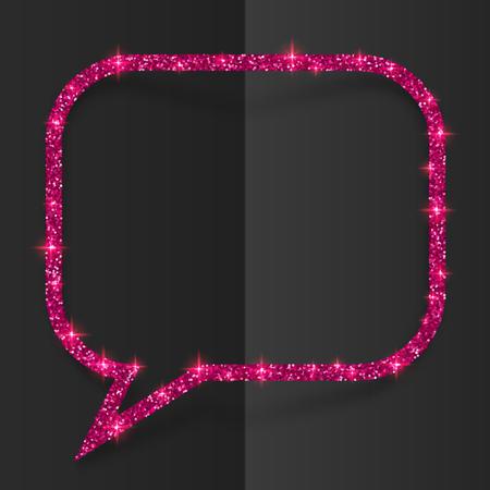 Pink glitter vector speech bubble frame isolated on black background Illustration