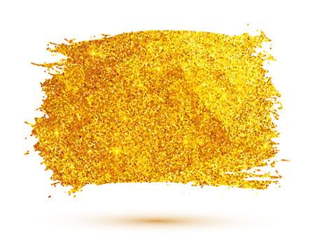 brush stroke: Golden glitter vector brush stroke isolated on white background