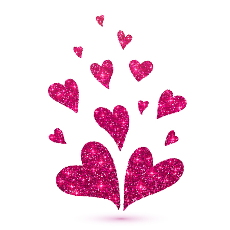 glitter hearts: Vector pink glitter hearts isolated at white background