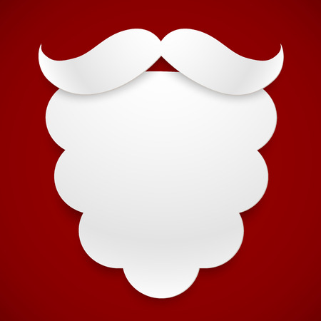 White paper vector Santas beard with shadow at dark red background