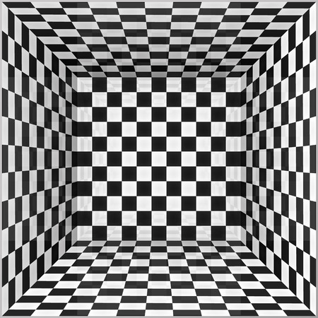 illusions: Black and white chessboard walls vector room background