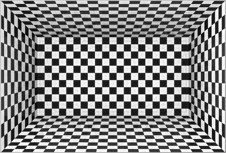 Black and white chessboard walls vector room background