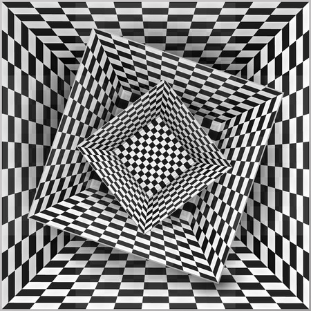 arte optico: Cajas patrón de tablero de ajedrez en blanco y negro, vector resumen de antecedentes