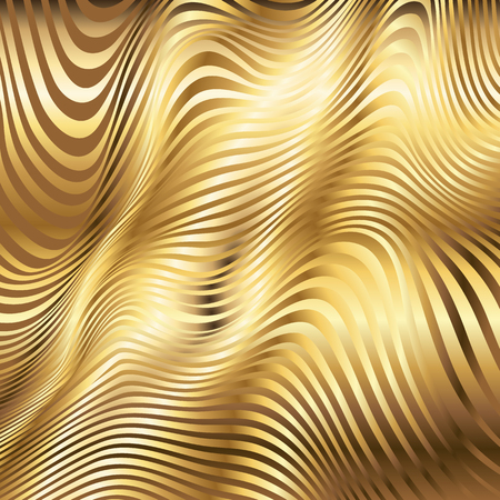 Golden striped waves vector abstract glossy background Illustration