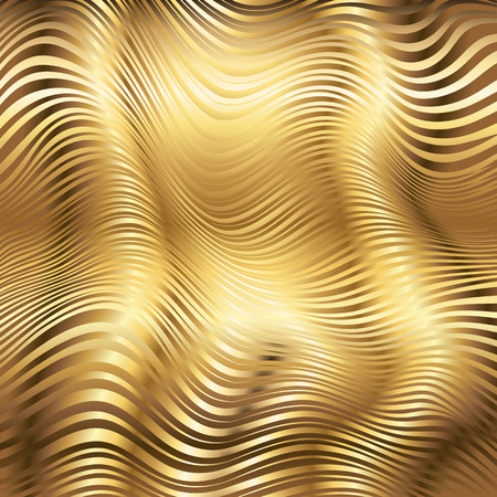 gold ornaments: Golden striped waves vector abstract glossy background Illustration