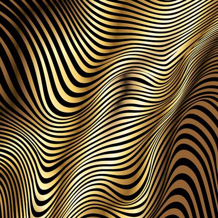 黄金色のストライプが黒い背景に抽象的な波をベクトルします。