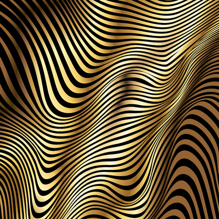 Golden stripes vector abstract waves on black background