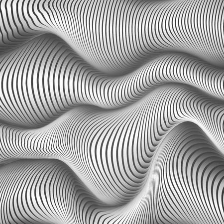 distort: Black and white wavy stripes abstract vector background Illustration