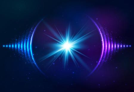 Son vecteur brillant vagues au fond cosmique Banque d'images - 47852015