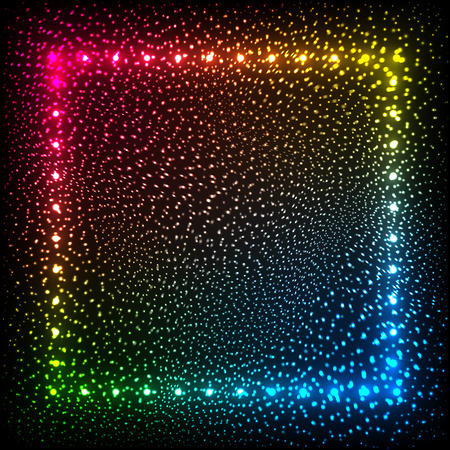 neon party: Rainbow colors vector glowing dots abstract frame Illustration
