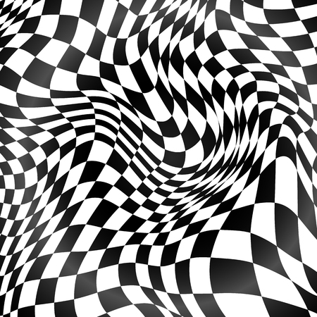 checker: Abstract black and white curved grid vector background