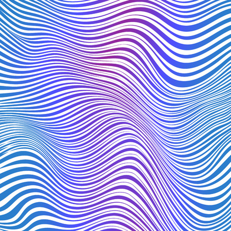 Abstract blue and pink striped waves vector background