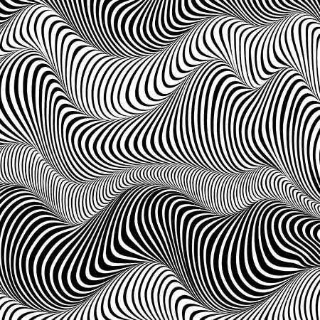 Abstract black and white stripes waves vector background