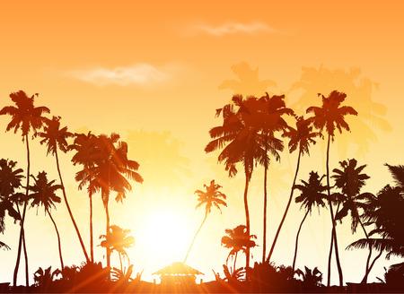 arboles frutales: Palms siluetas en el cielo de color naranja puesta de sol, vector de fondo Vectores