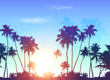 Palms silhouettes at blue sunrise sky, vector background