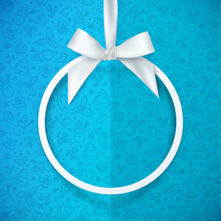 white ribbon: White holiday vector round frame with bow and silky ribbon at blue Christmas doodle folded paper background Illustration