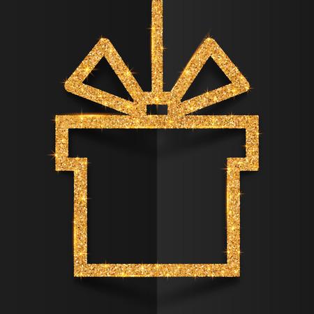 折り畳まれた黒地に様式化された弓と黄金の輝きギフト ボックス シルエット ベクトル フレーム