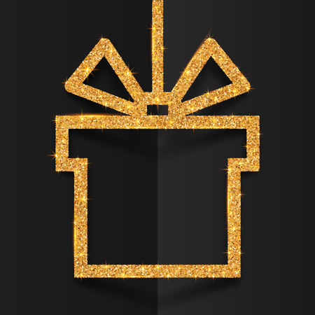 Golden glitter gift box silhouette vector frame with stylized bow at black folded background