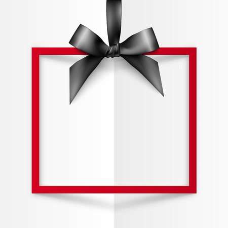 white frame: Red vector gift box frame with black silky bow and ribbon on white folded paper background