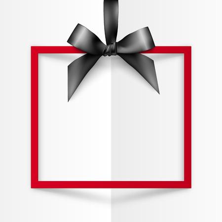 ruban noir: Rouge vecteur boîte cadeau cadre avec l'arc noir satiné et le ruban sur blanc fond de papier plié