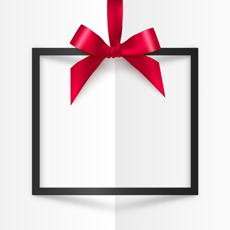 Black vector gift box frame with red silky bow and ribbon on white folded paper background Illustration