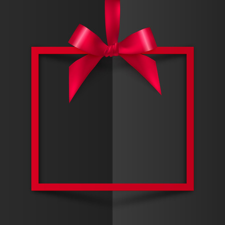 Red vector gift box decorative frame with silky bow and ribbon on black folded paper background Ilustração